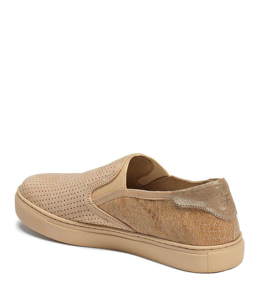 Lillian Perforated Croco Embossed Slip-On Sneakers HAlCGmxgzI