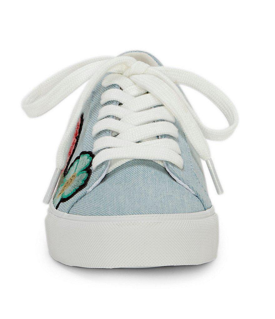 Jessica Simpson Dessa Denim Embroidered Floral Patch Sneakers BSSky