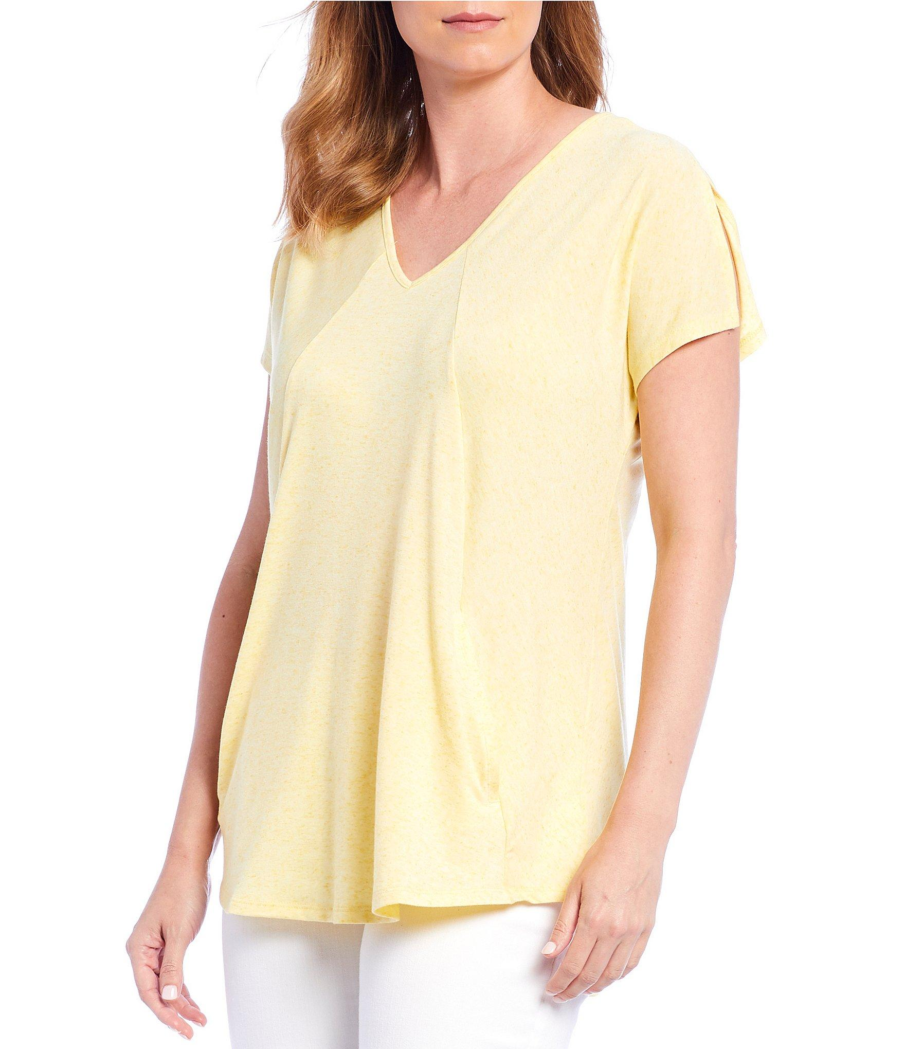 Jones New York Slub Knit Jersey V Neck Seamed Top In Yellow