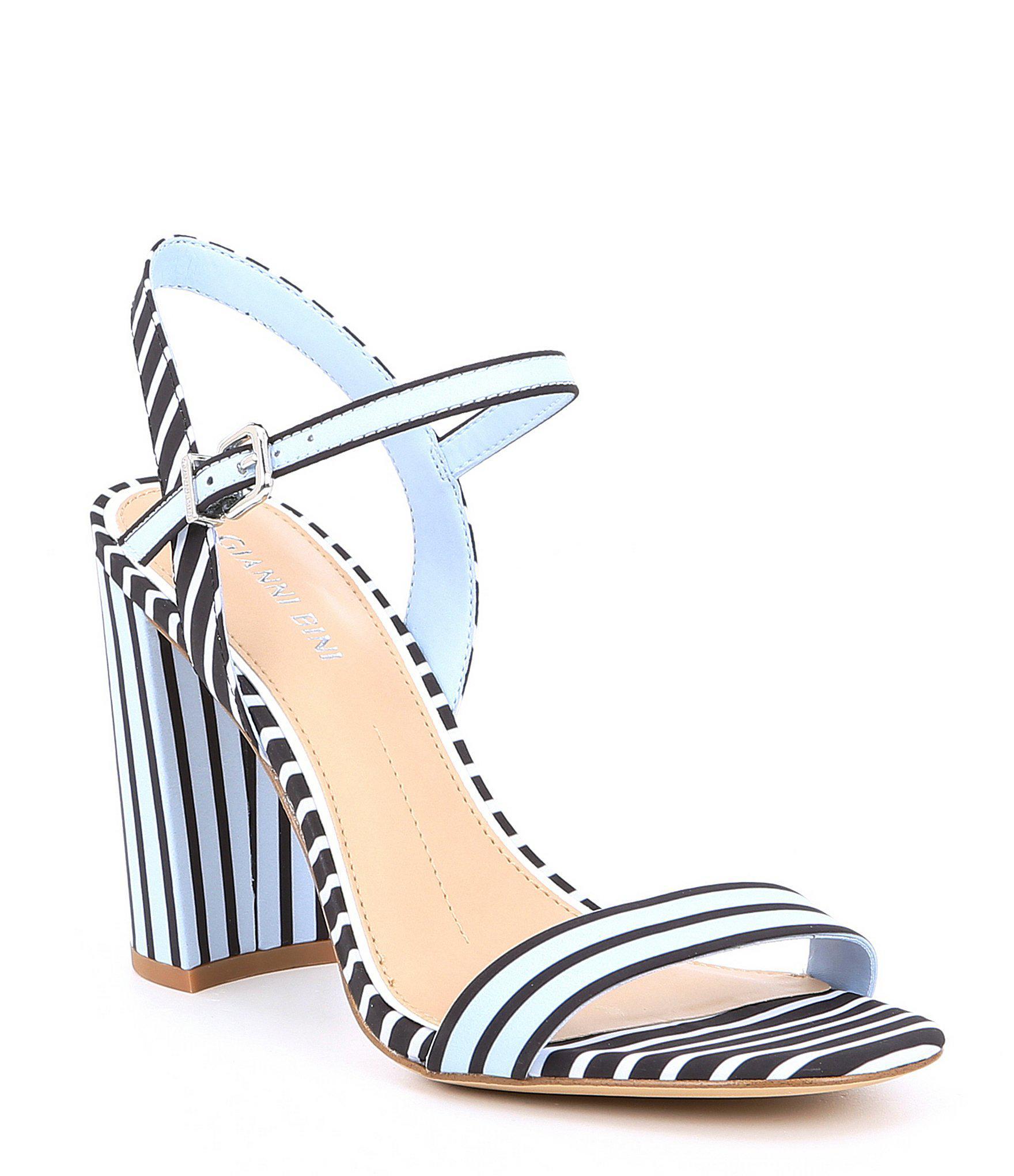 443f2fada33 Lyst - Gianni Bini Mckaria Stripe Block Heel Sandals in Blue