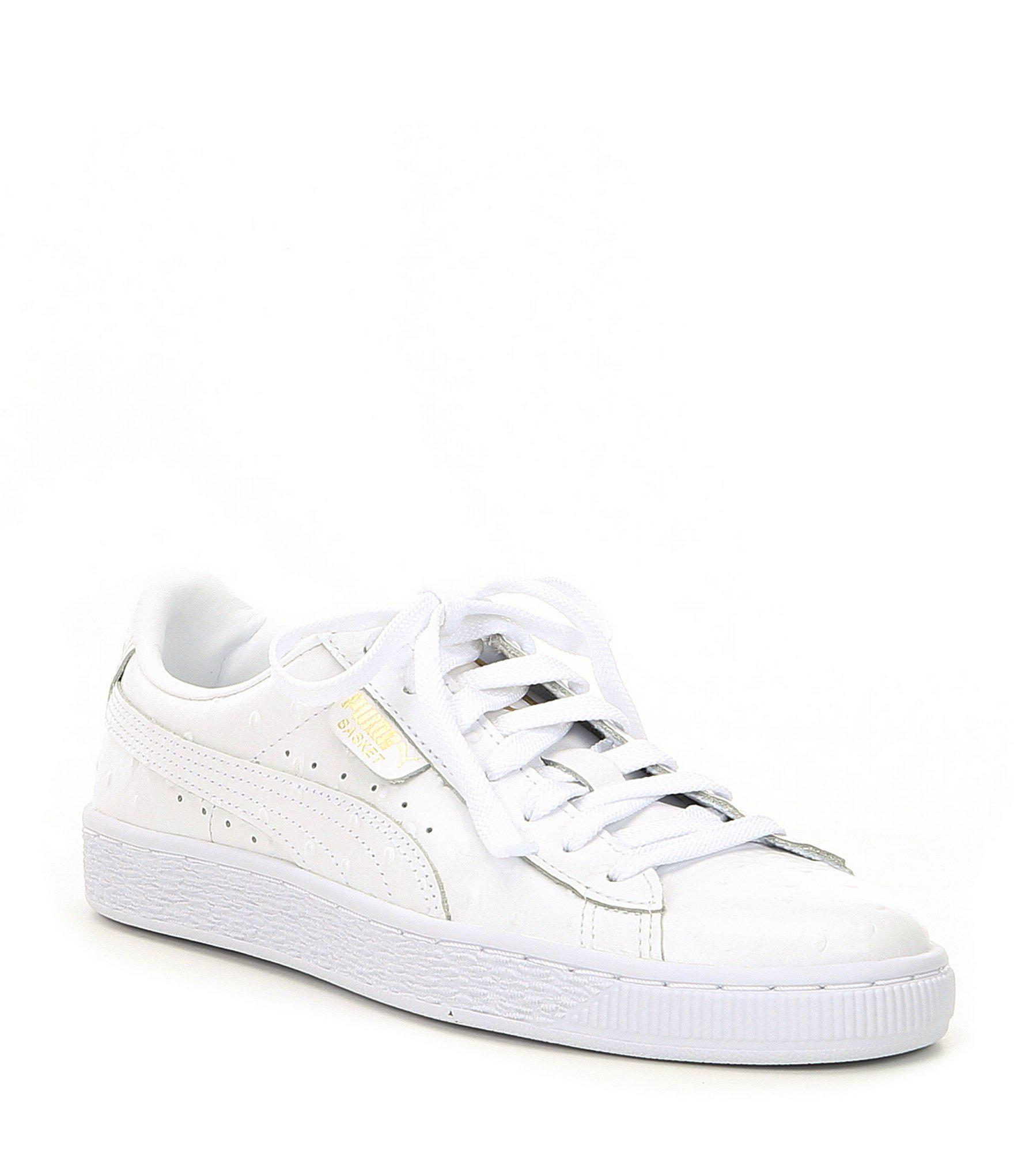4a8c7633ce0 Lyst - PUMA Women s Basket Ostrich Sneakers in White