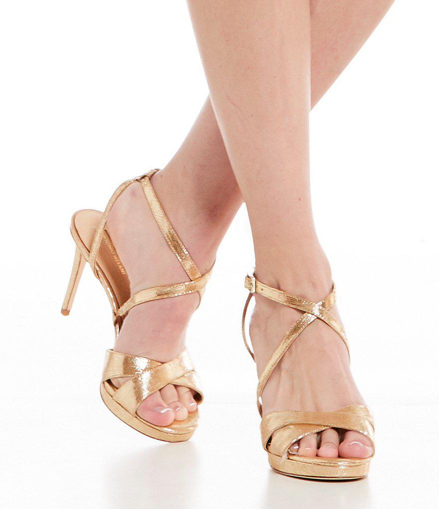 Leeza Metallic Leather Platform Strappy Dress Sandals gRtChMk