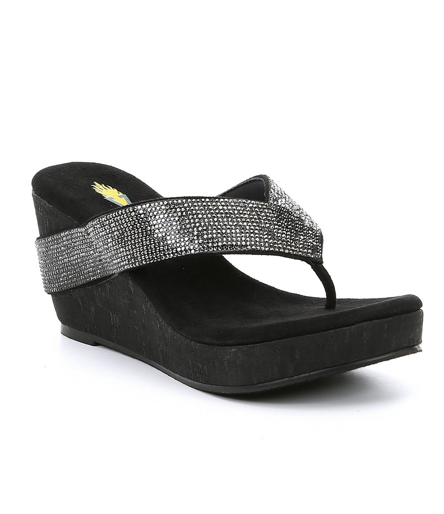 d1858be129 Lyst - Volatile Cristina Rhinestone Cork-wedge Sandals in Black