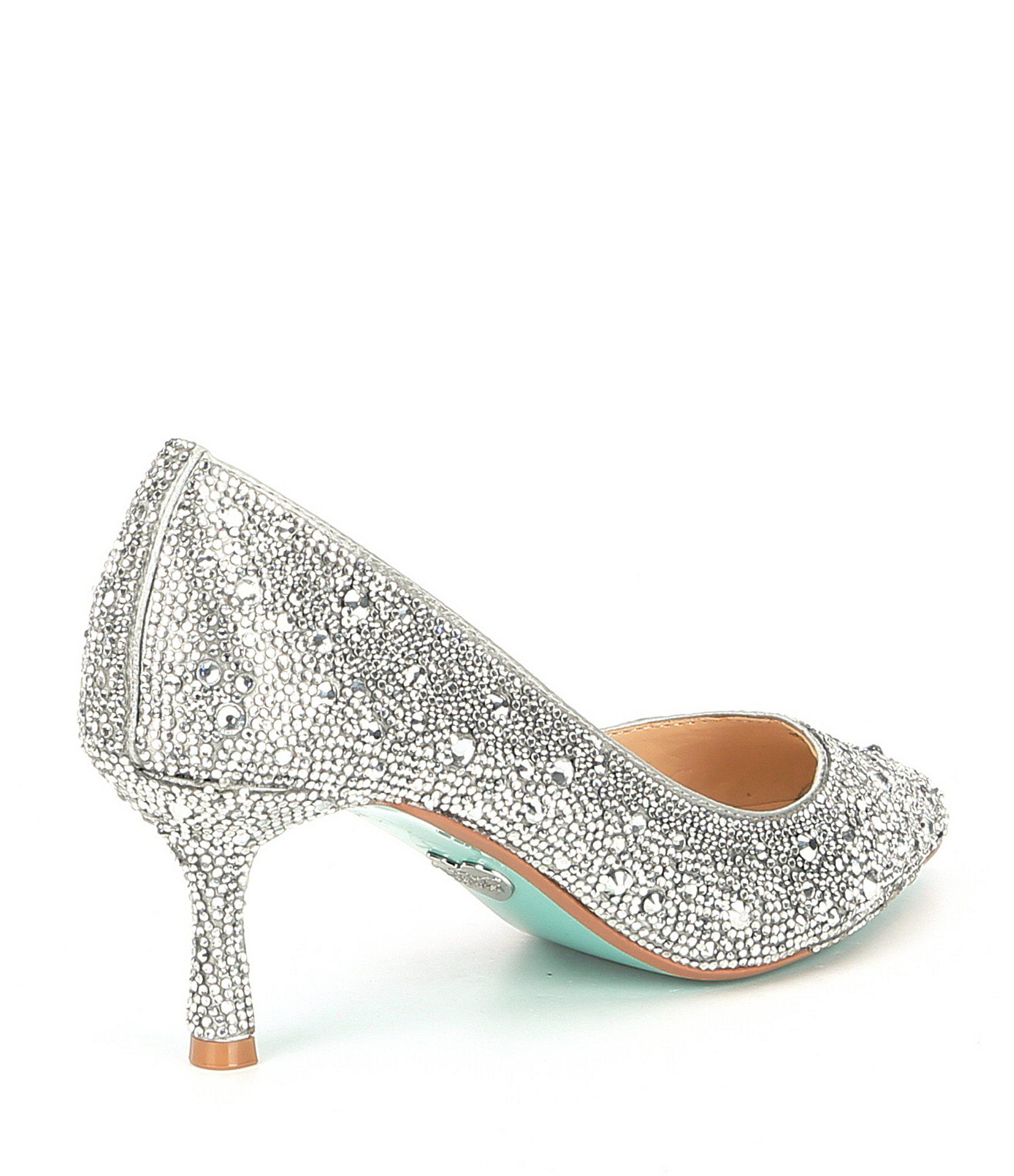 a8be9bf7500 Betsey Johnson - Metallic Blue By Jora Glitter Jeweled Kitten Heel Pumps -  Lyst. View fullscreen