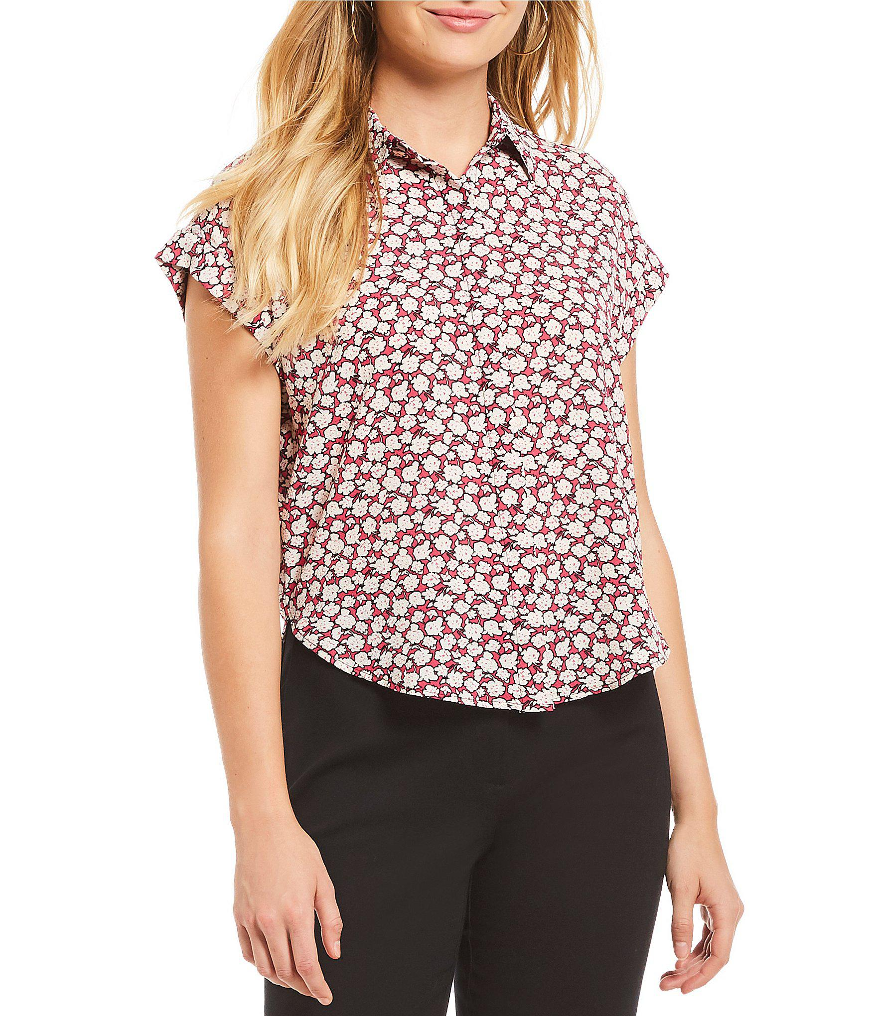 719ccc7168 Lyst - Jones New York Floral Print Hi-low Shirttail Hem Button Back ...