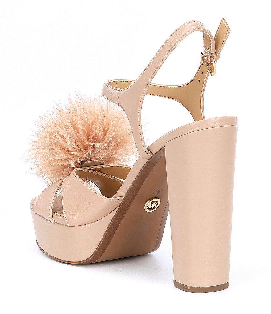 MICHAEL Michael Kors Fara Glitter Pom Pom Detail Platform Dress Sandals 3FZ4qdeh