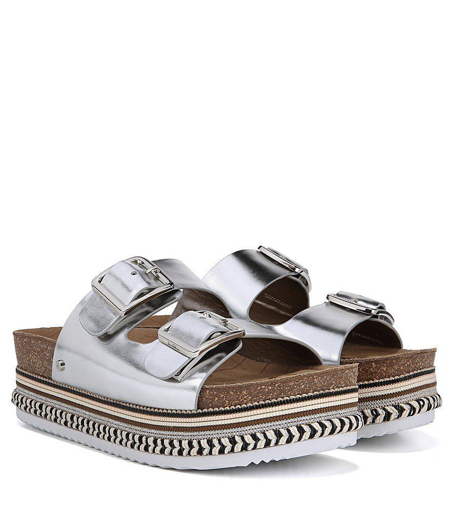 aa81a5bbd811 Lyst - Sam Edelman Oakley Metallic Leather Platform Sandals in Metallic