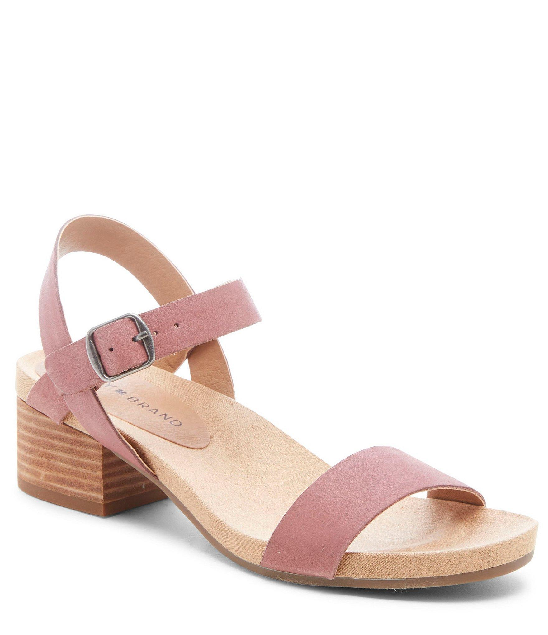 f9435276041 Lyst - Lucky Brand Pagona Leather Block Heel Sandals in Pink