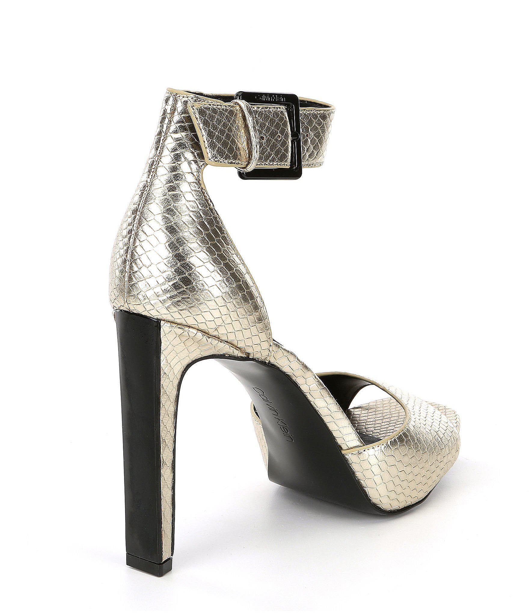 e1bd74e172d Lyst - Calvin Klein Marinda Metallic Snake Print Leather Dress ...