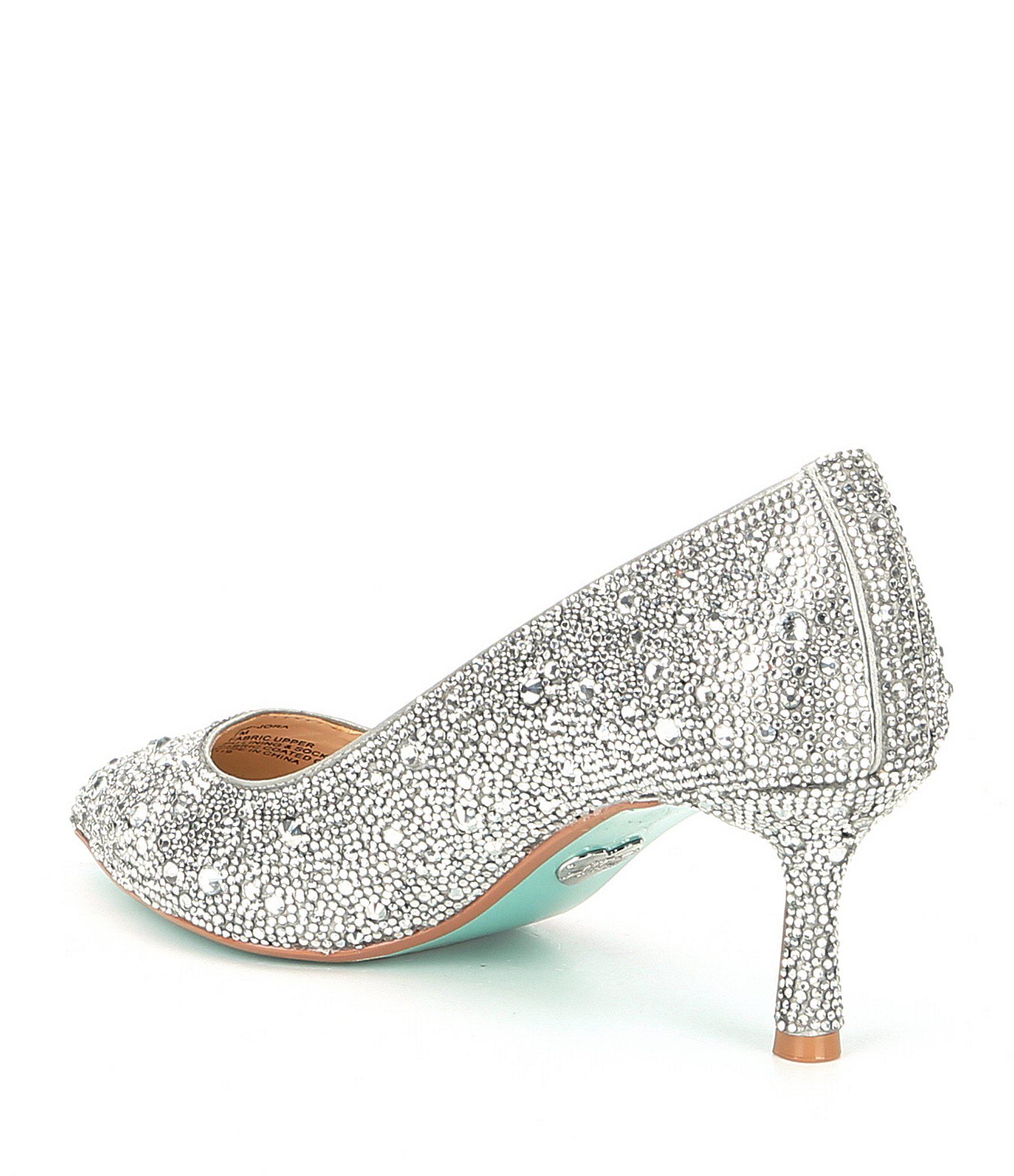 a4bf70cd8e0 Betsey Johnson Blue By Jora Glitter Jeweled Kitten Heel Pumps in ...