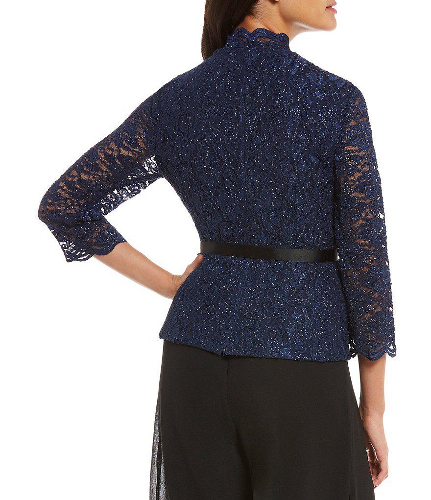 Lyst - Alex Evenings V-neck Sequin Lace Blouse in Blue 5a08de1aa