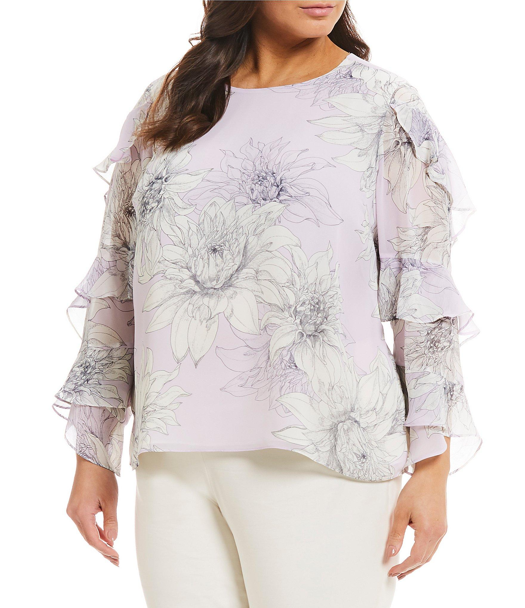6f72ef9e595 Vince Camuto. Women s Plus Size Tiered Ruffle Long Sleeve Floral Blouse
