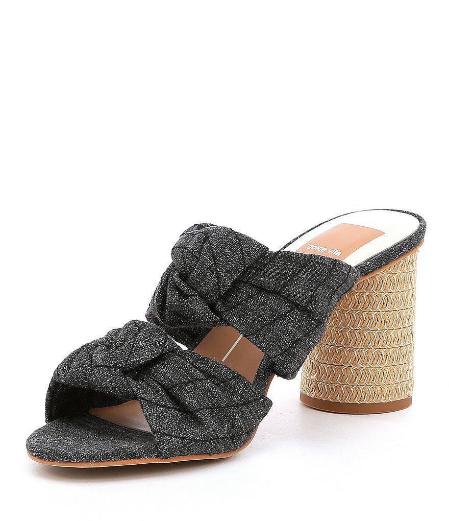 Jene Denim Double Knot Block Heel Sandals McrzWNR