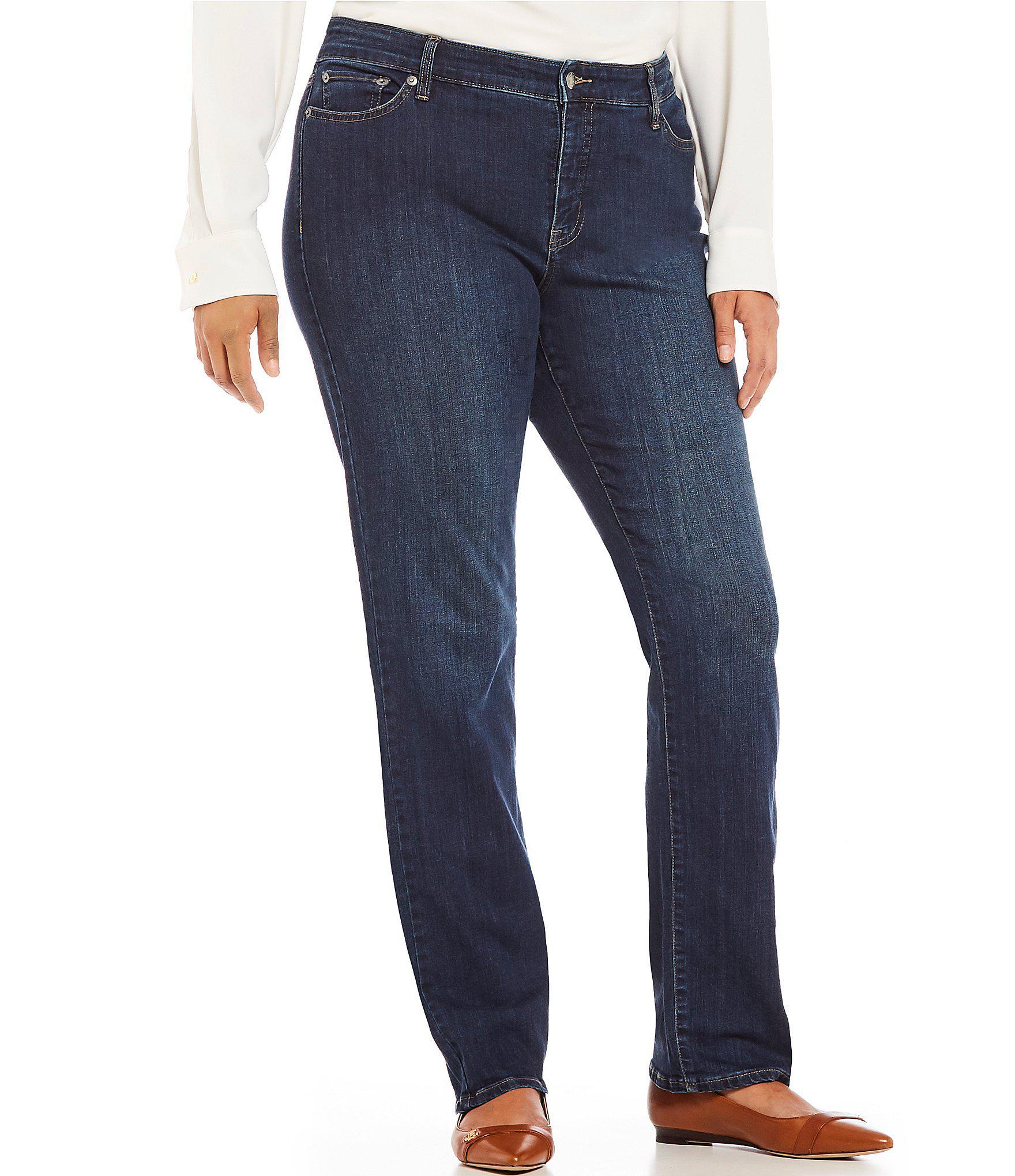60959cc6bf402 Lauren by Ralph Lauren. Women s Blue Plus Size Stretch Denim Premier  Straight-leg Jeans