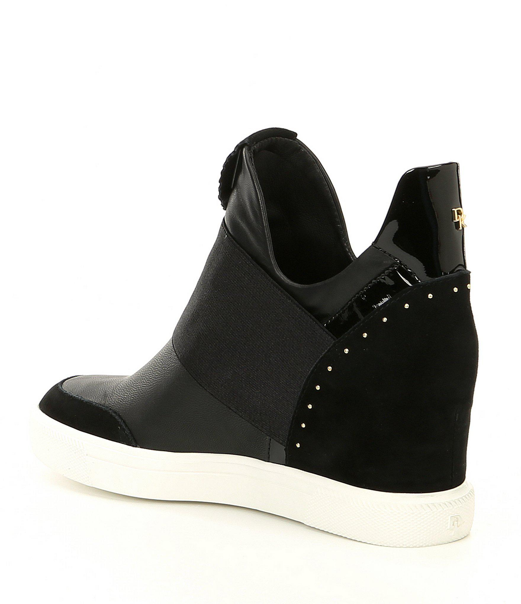 810f7dbd8f20 Donna Karan - Black Cailin Hidden Leather Wedge Sneakers - Lyst. View  fullscreen
