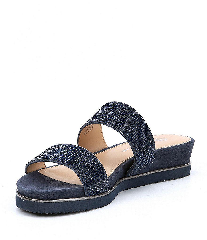 Gloriela Metallic Suede Rhinestone Detail Footbed Sandals HsFGdSN6