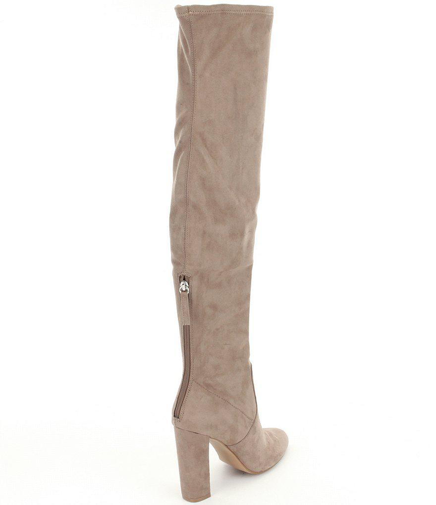 9cb9c8fa510 Lyst - Steve Madden Emotions Over The Knee Pull On Back Zipper Boots