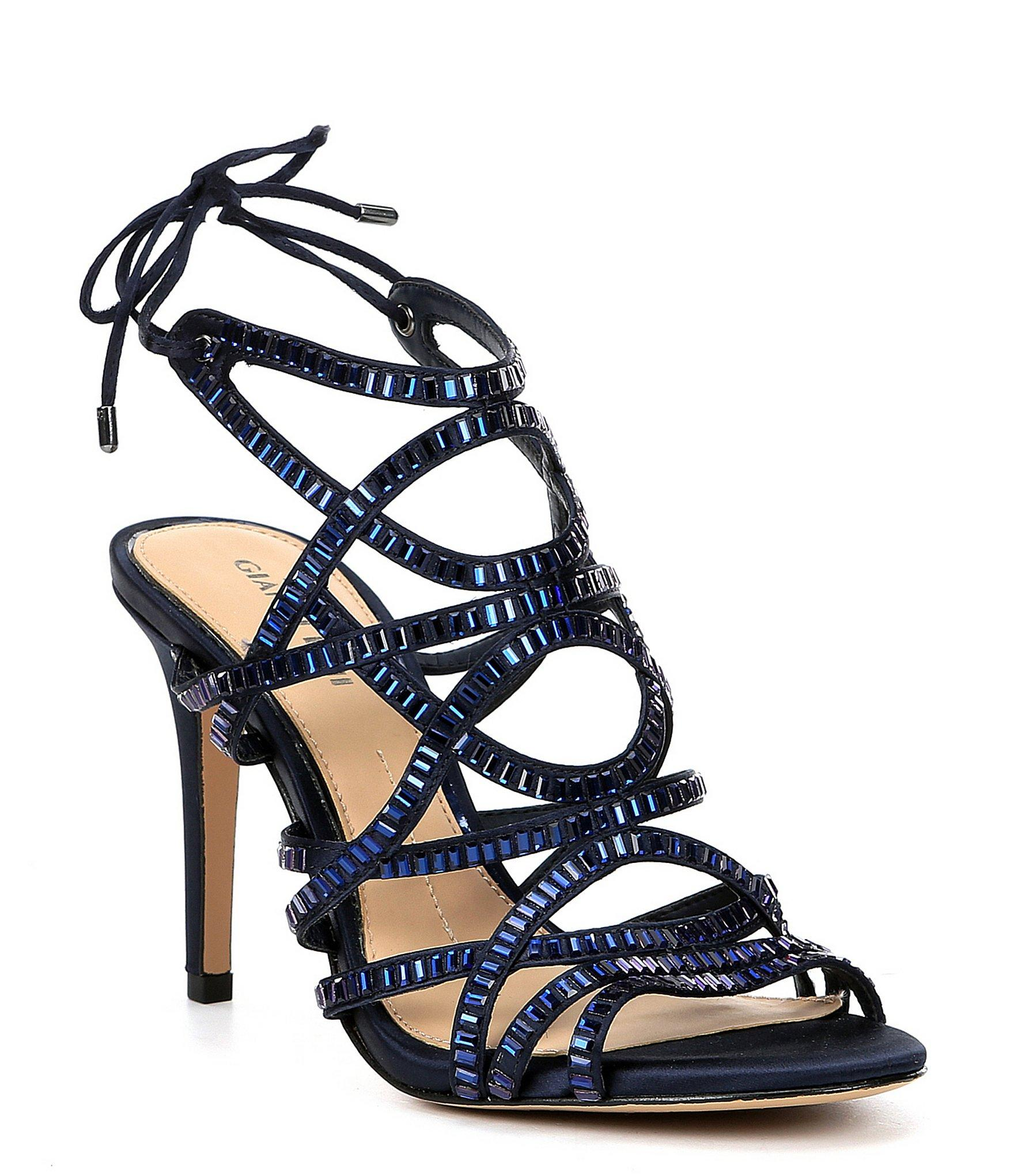 1e3bbf762 Lyst - Gianni Bini Kellzie Satin Jeweled Caged Dress Sandals in Blue
