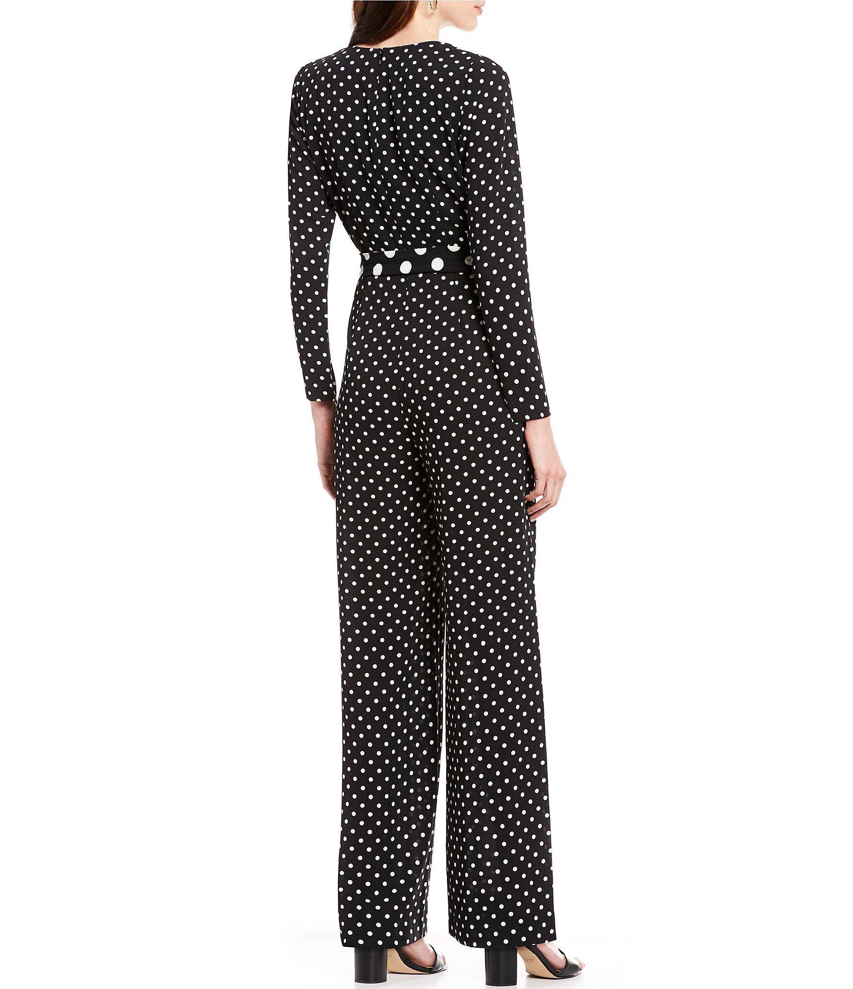 fe372a085163e Eliza J - Black Polka Dot V-neck Tie Waist Jumpsuit - Lyst. View fullscreen