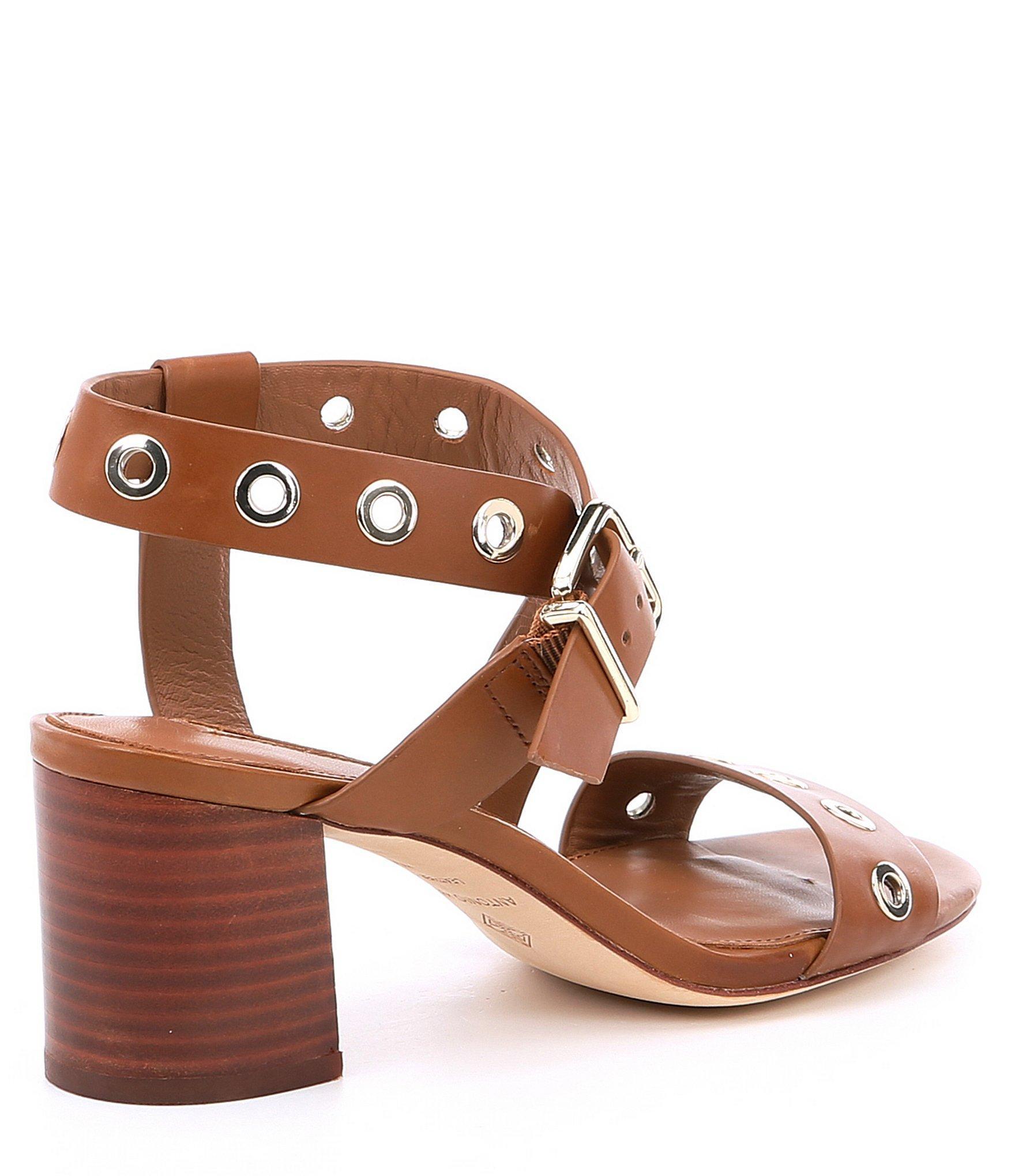 8052e1cfe Antonio Melani - Brown Oleana Leather Block Heel Sandals - Lyst. View  fullscreen