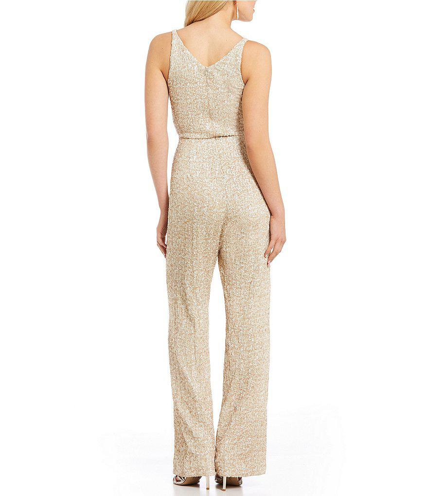 20008c69598 Lyst - Dress the Population Charlie V-neck Sequin Jumpsuit in Natural