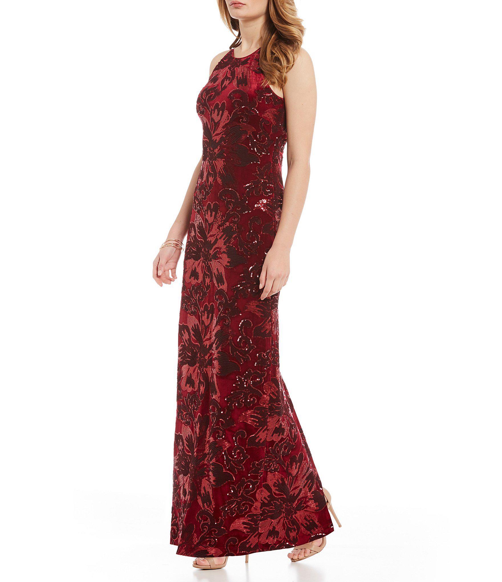 c5d2ef910ce Belle By Badgley Mischka Printed Velvet Sequin Gown in Red - Lyst