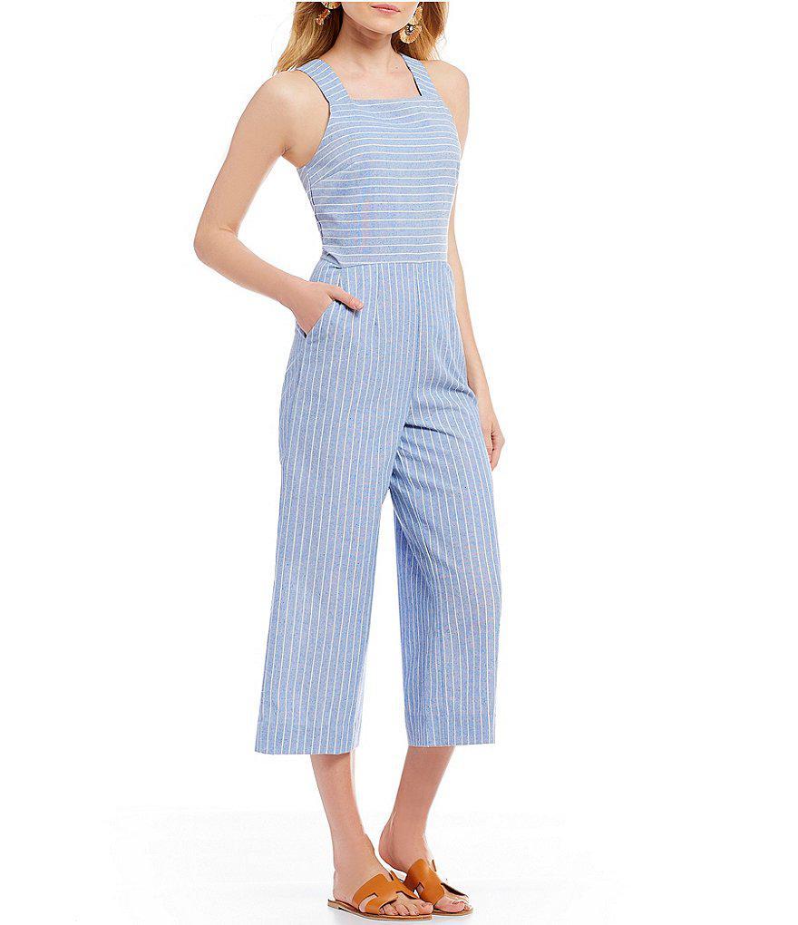 762b21dbc6ee Lyst - Sugarlips Striped Culotte Jumpsuit in Blue