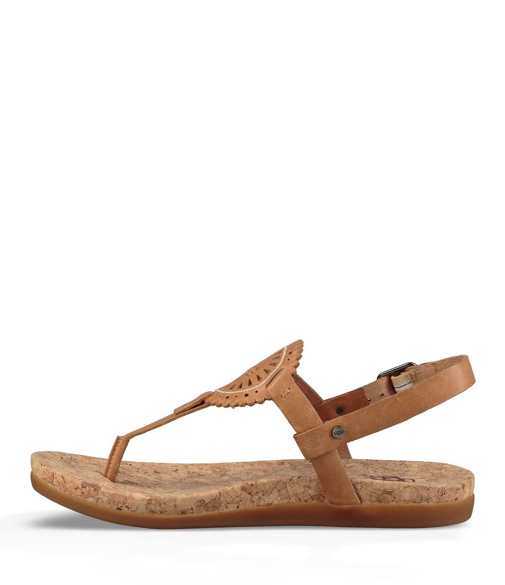 602a0769f0c3f Ugg - Brown Ayden Ii Leather   Cork Thong Sandals - Lyst. View fullscreen