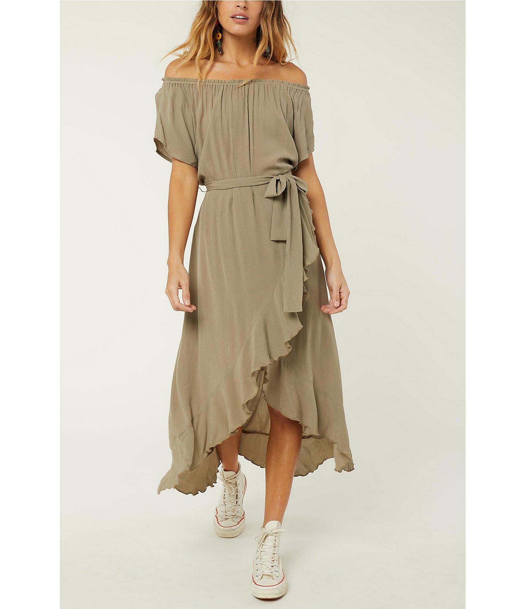 4d420cac4f038 O'neill Sportswear. Women's Green Connie Off The Shoulder Midi Wrap Dress