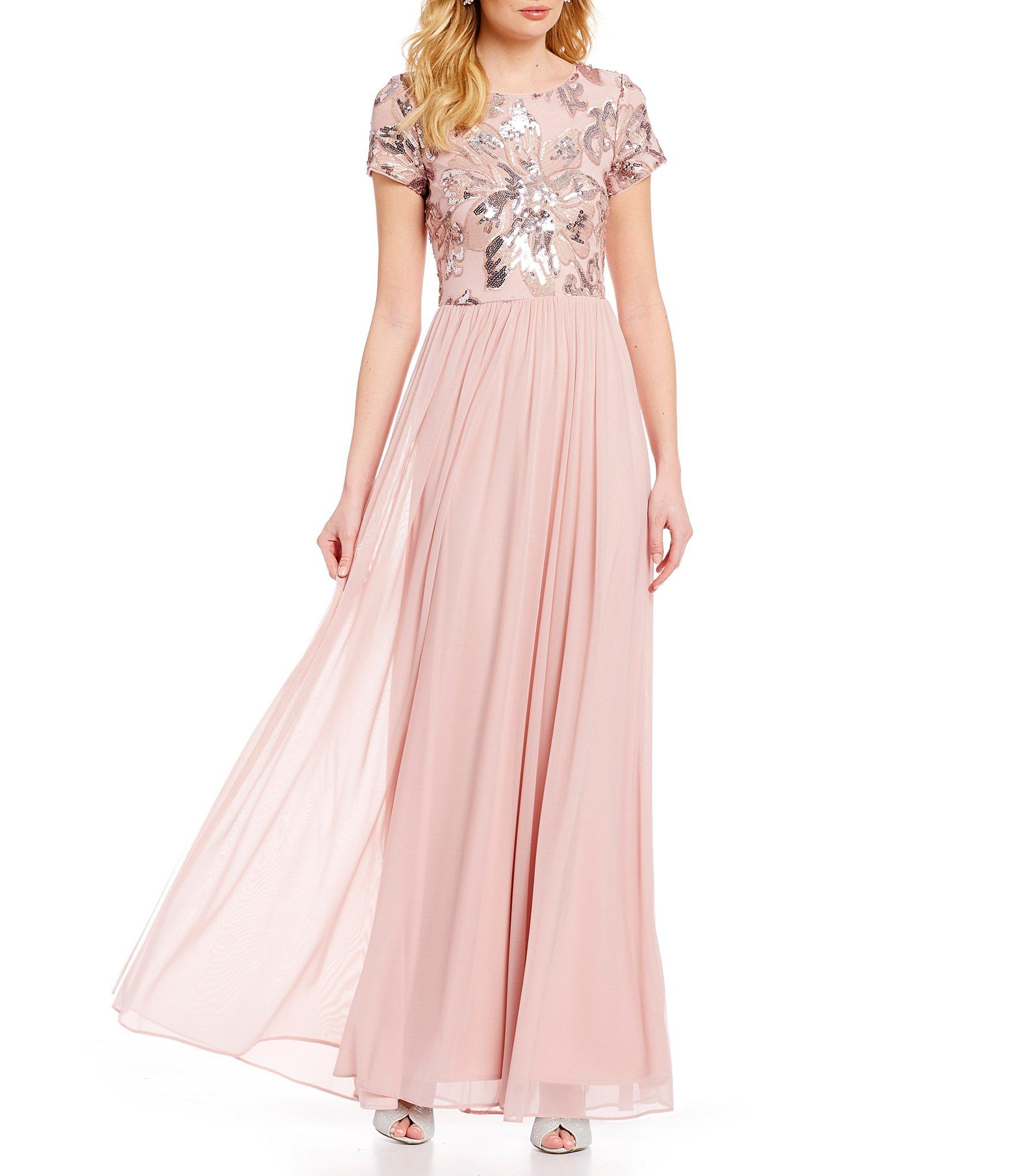29cc4baf Betsy & Adam. Women's Pink Floral Sequin Beaded Bodice Empire Waist Gown