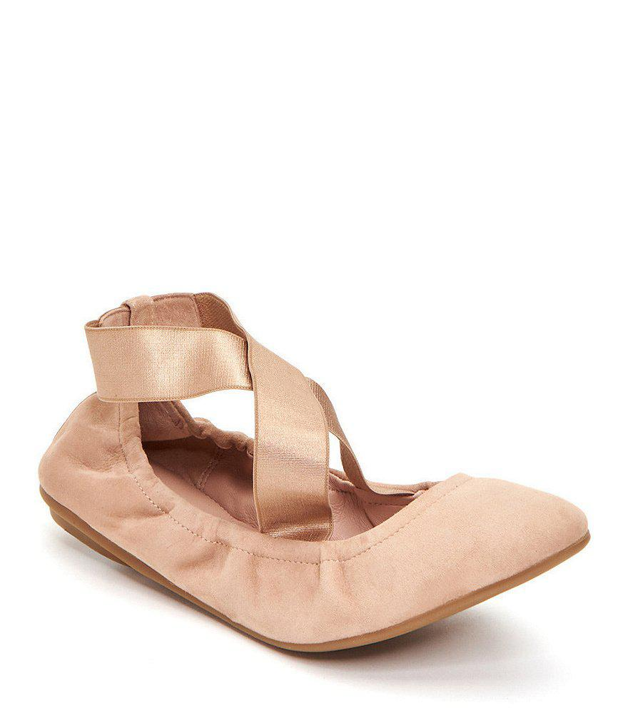 Taryn Rose Edina Leather Cross Over Strap Ballerina Flats PEMXIgpI