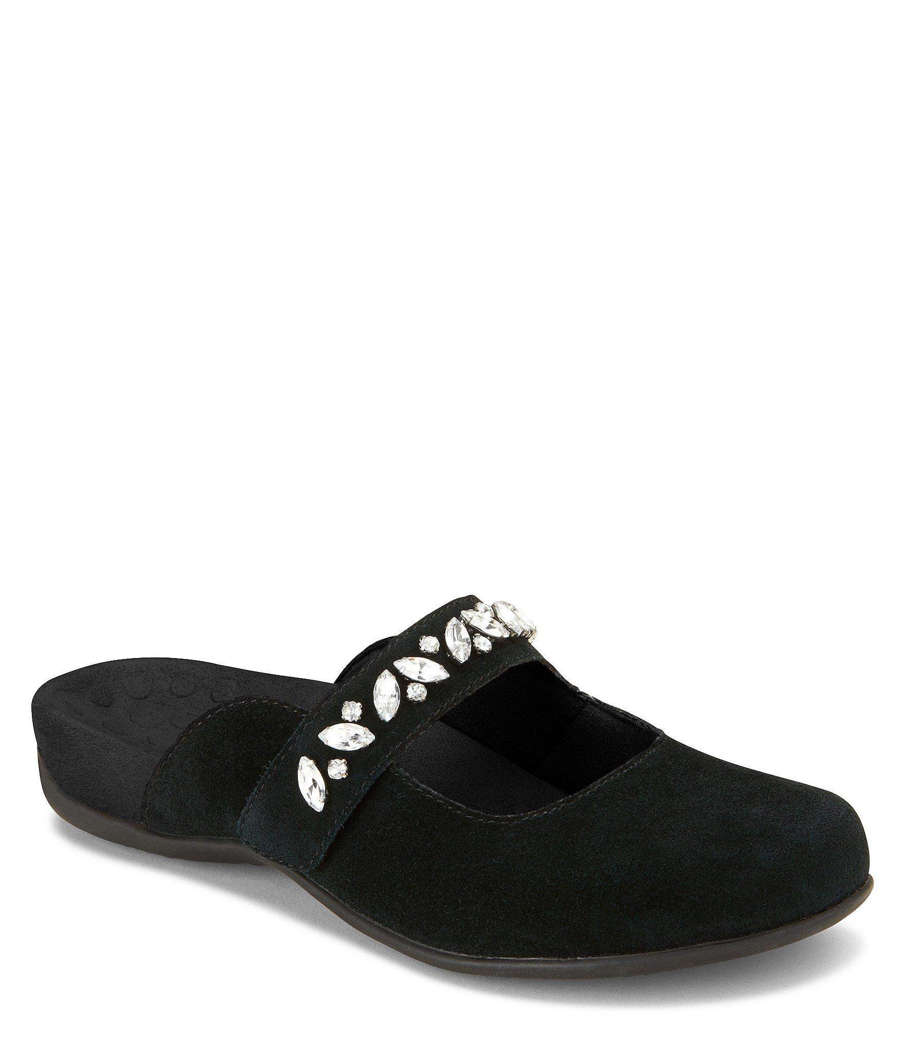 ec5fb2590 Lyst - Vionic Jenelle Bejeweled Suede Clogs in Black