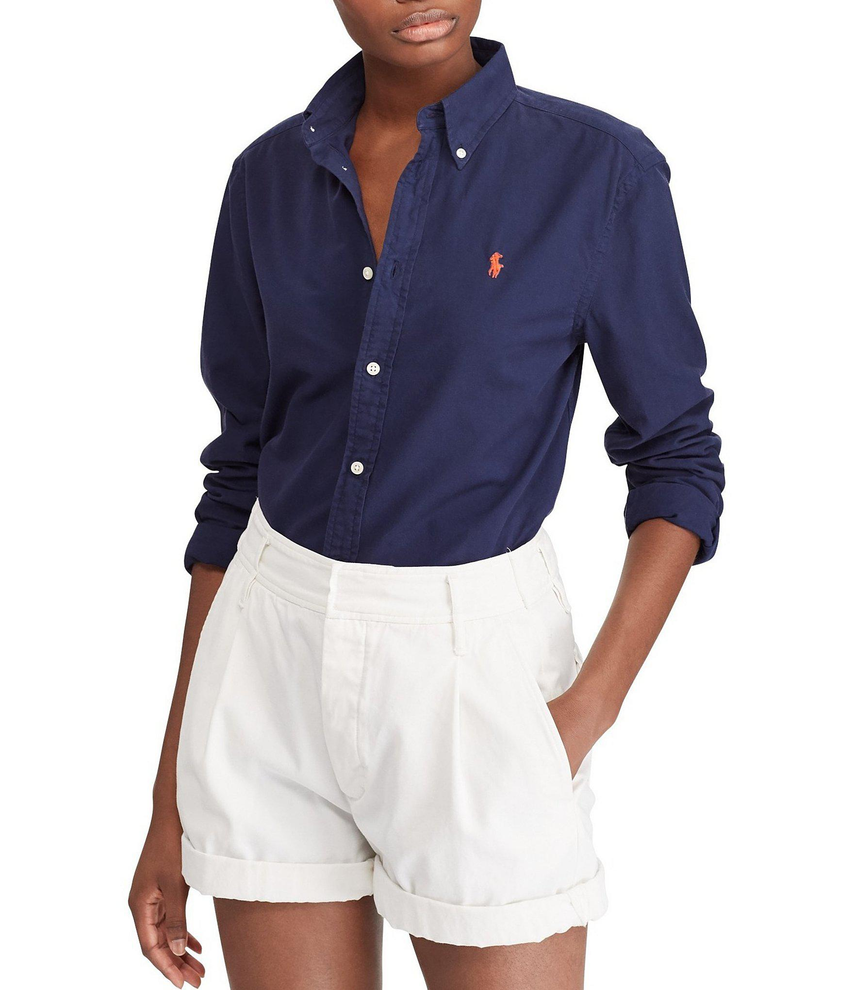 b7cdc52308aa7 ... switzerland new style polo ralph lauren. womens blue relaxed fit button  front oxford shirt 33a63