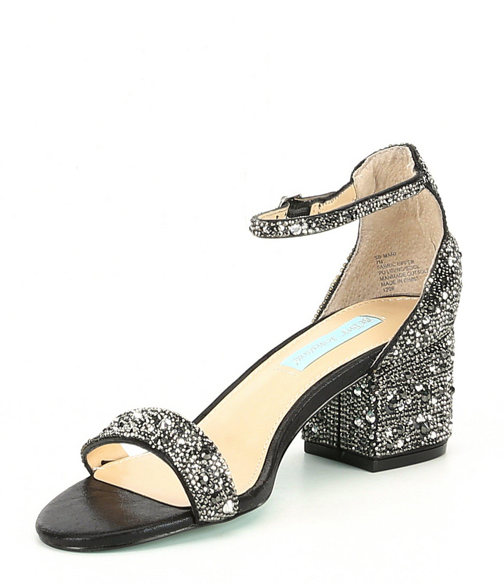 1a1c62ebc58 Betsey Johnson - Black Blue By Mari Block Heel Dress Sandals - Lyst. View  fullscreen