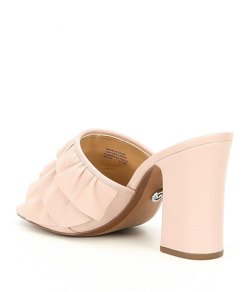 Bella Ruffle Detail Block Heel Mule Sandals Ogs8c0m