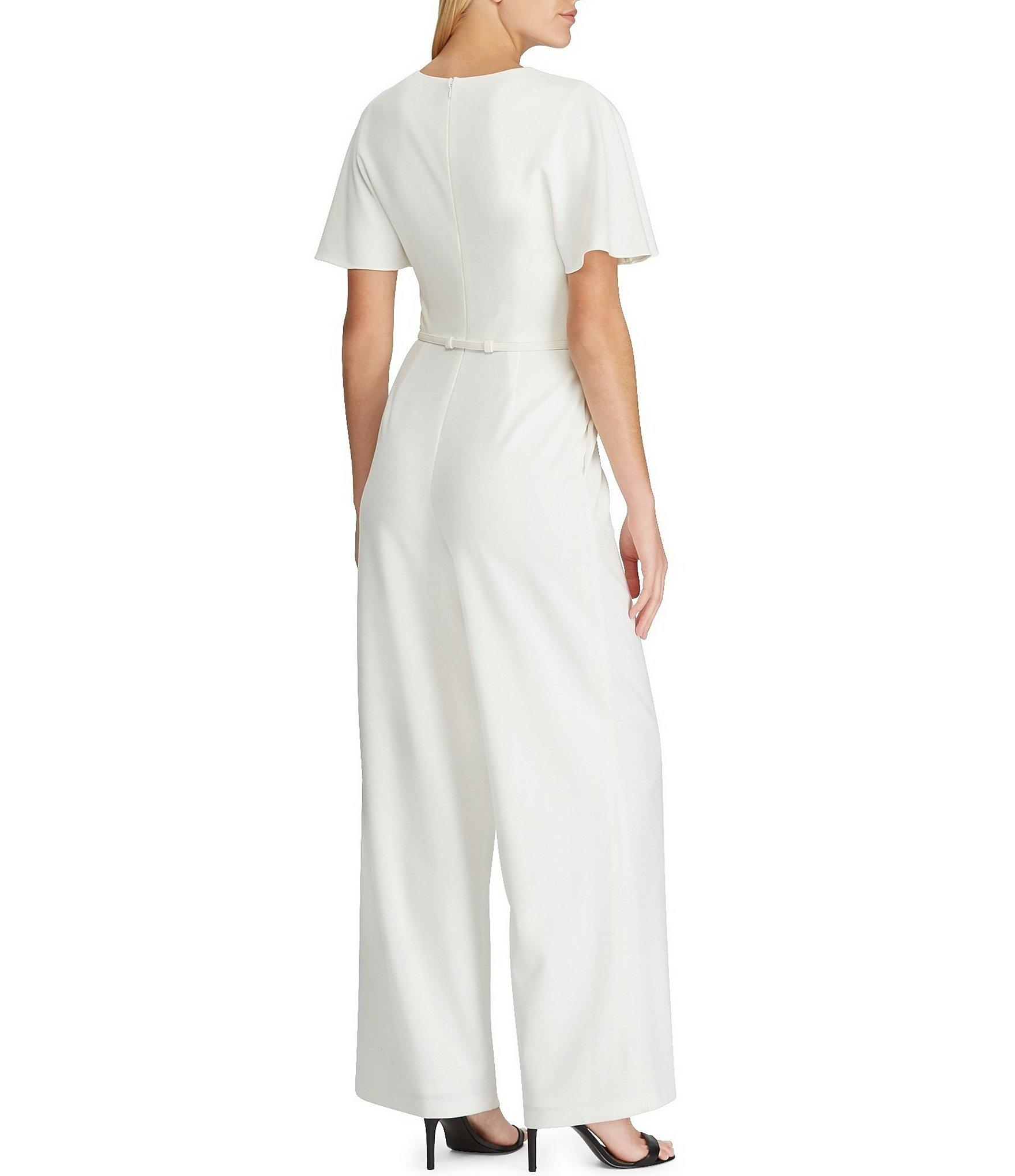 943c699217a Lauren by Ralph Lauren - White Crepe Wide Leg Belted Jumpsuit - Lyst. View  fullscreen