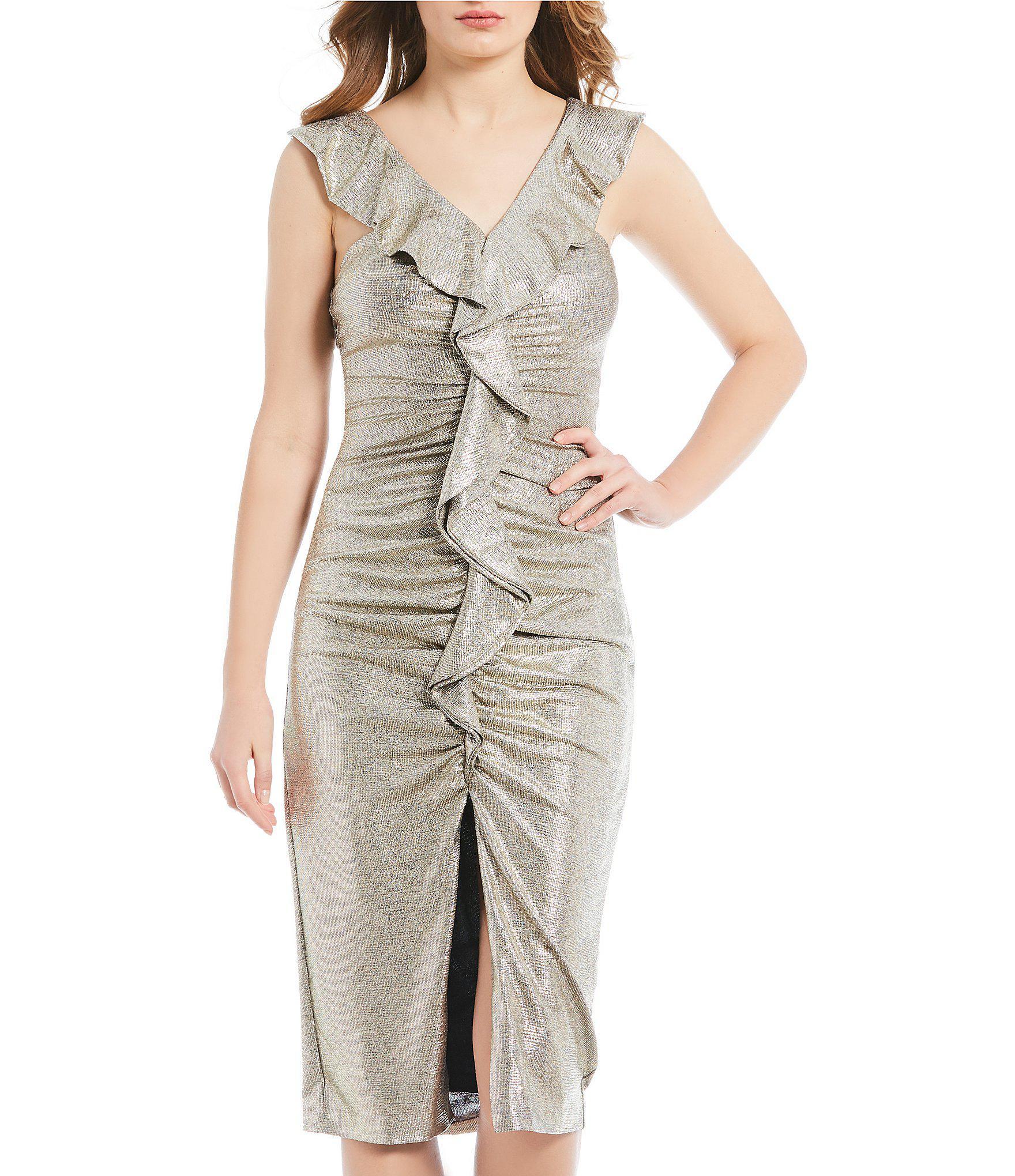 840fcbbe261 Gianni Bini - Metallic Jody Rouched Ruffle Front Slit Midi Dress - Lyst.  View fullscreen