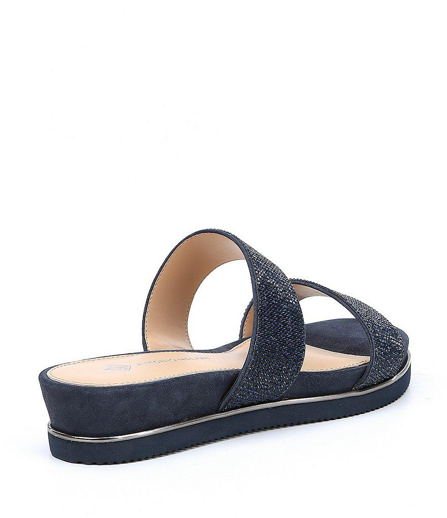 Antonio Melani Gloriela Metallic Suede Rhinestone Detail Footbed Sandals r5J0neFz