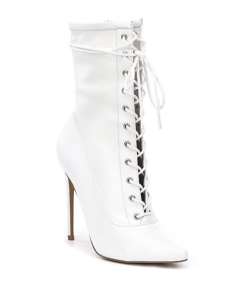 02c71a259a1 Lyst - Steve Madden Satisfied Lace Up Dress Booties in White