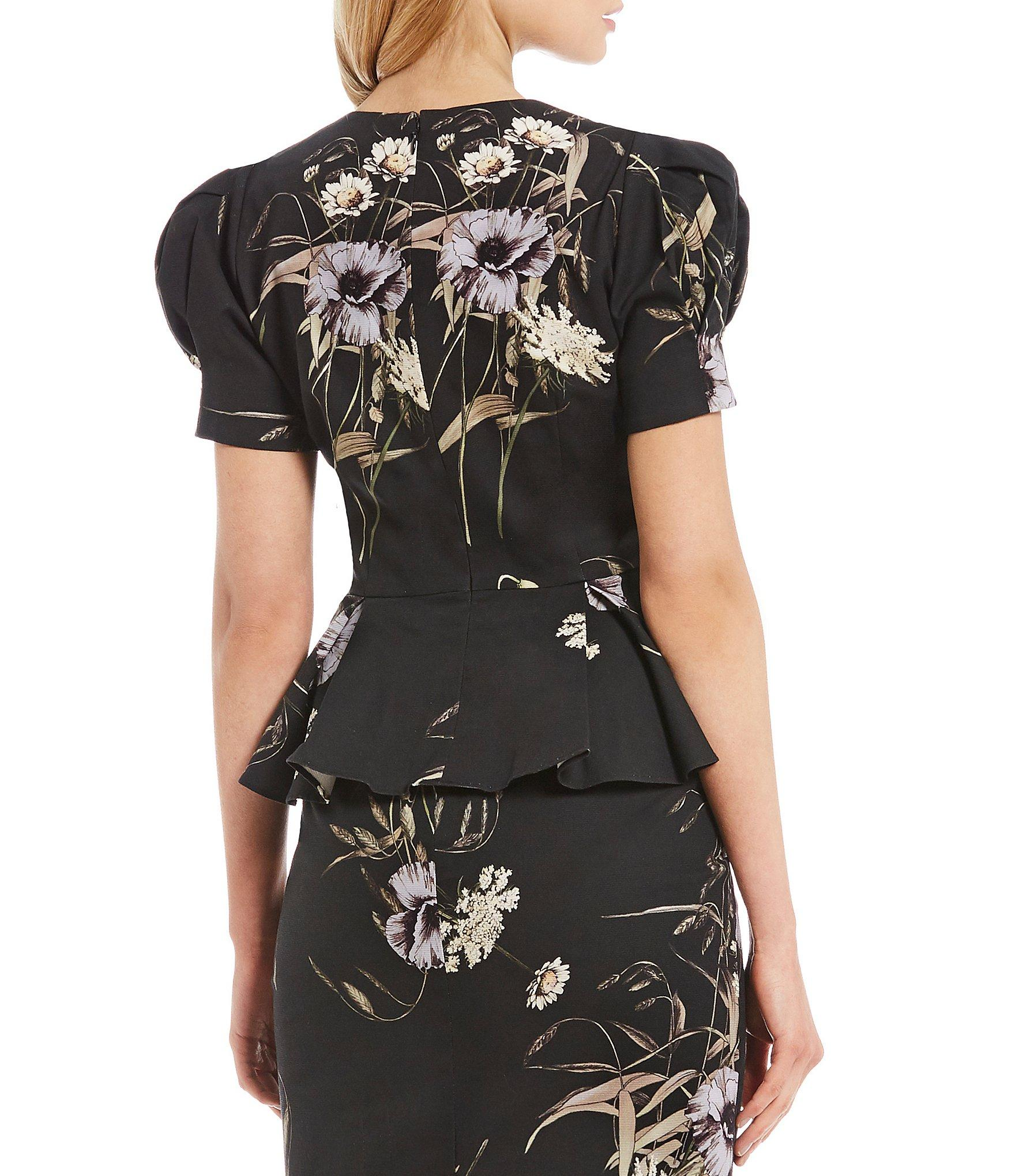 f7dfaa2254a Antonio Melani - Black Randi Floral Print Puffed Statement Shoulder Peplum  Blouse - Lyst. View fullscreen