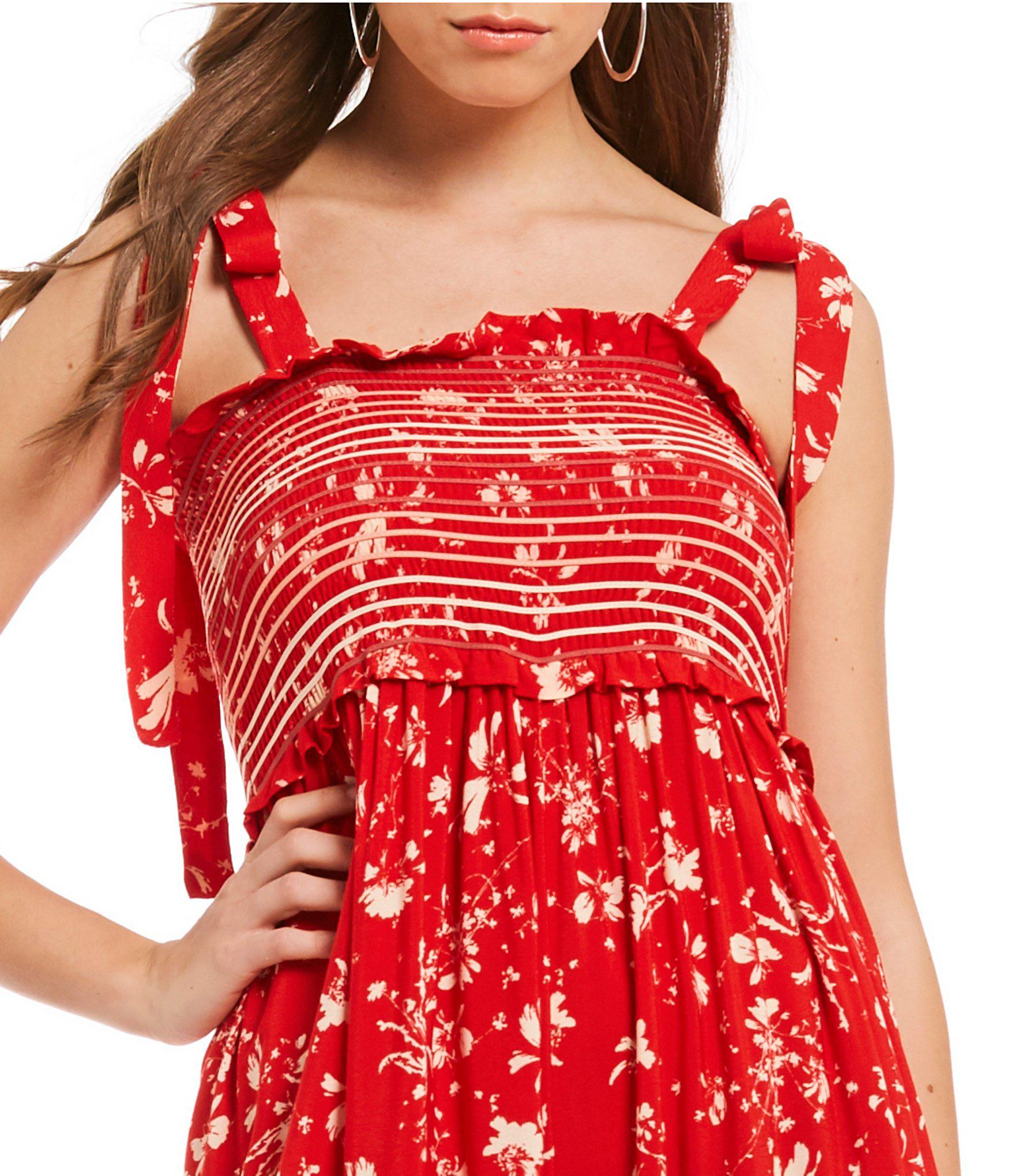 d7ce5556ceaa Lyst - Free People Color My World Smocked Ditsy Floral Print Prairie ...