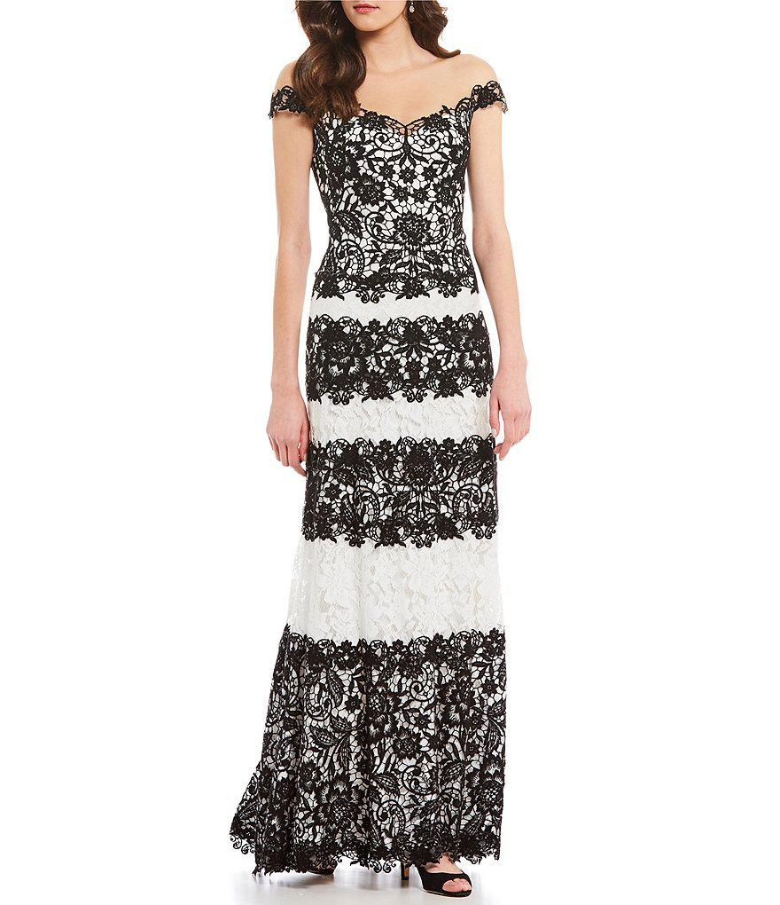 Tadashi Shoji Illusion Off The Shoulder Lace Gown in Black - Lyst