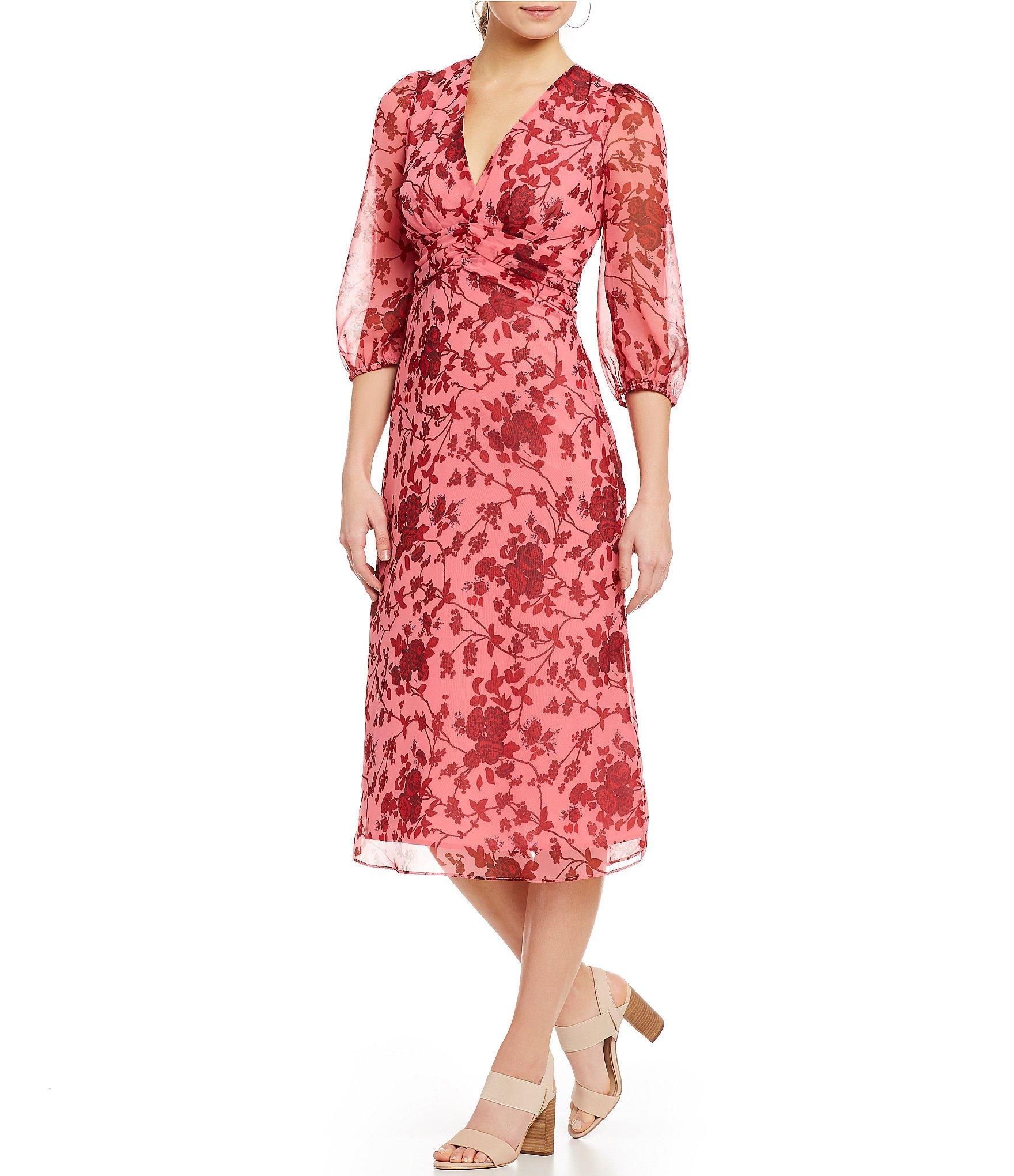 5da744f4fe Lucy Paris Claudia Floral Print A-line Balloon Sleeve Midi Dress in ...