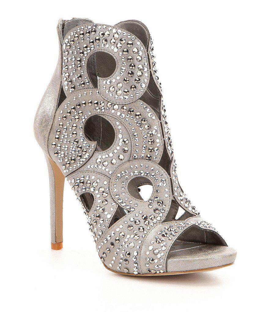 a39e7ef0978 Lyst - Gianni Bini Merilee Jeweled Swirl Cutout Peep Toe Stiletto ...