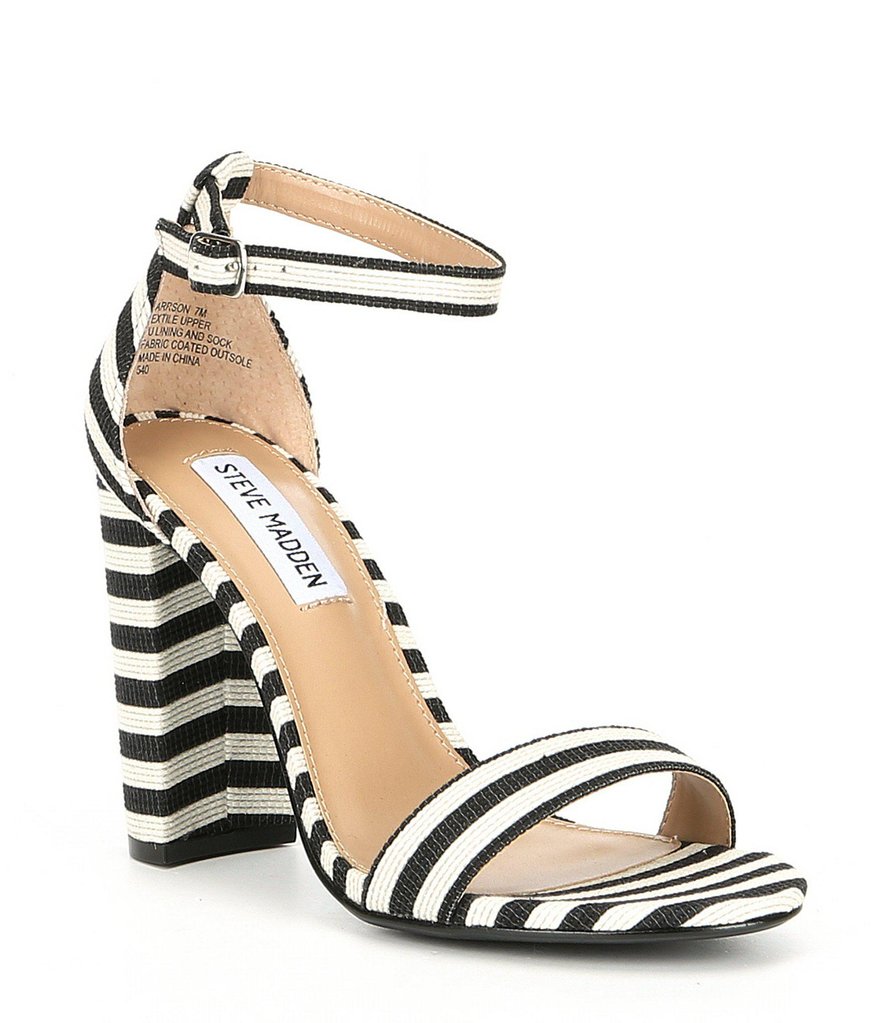 0613eac2f03 Steve Madden - Black Carrson Ankle Strap Striped Block Heel Dress Sandals -  Lyst. View fullscreen