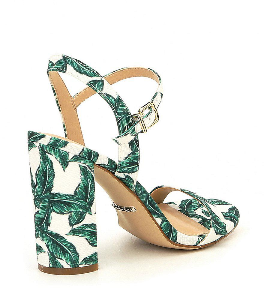McKaria Palm Leaf Print Block Heel Sandals
