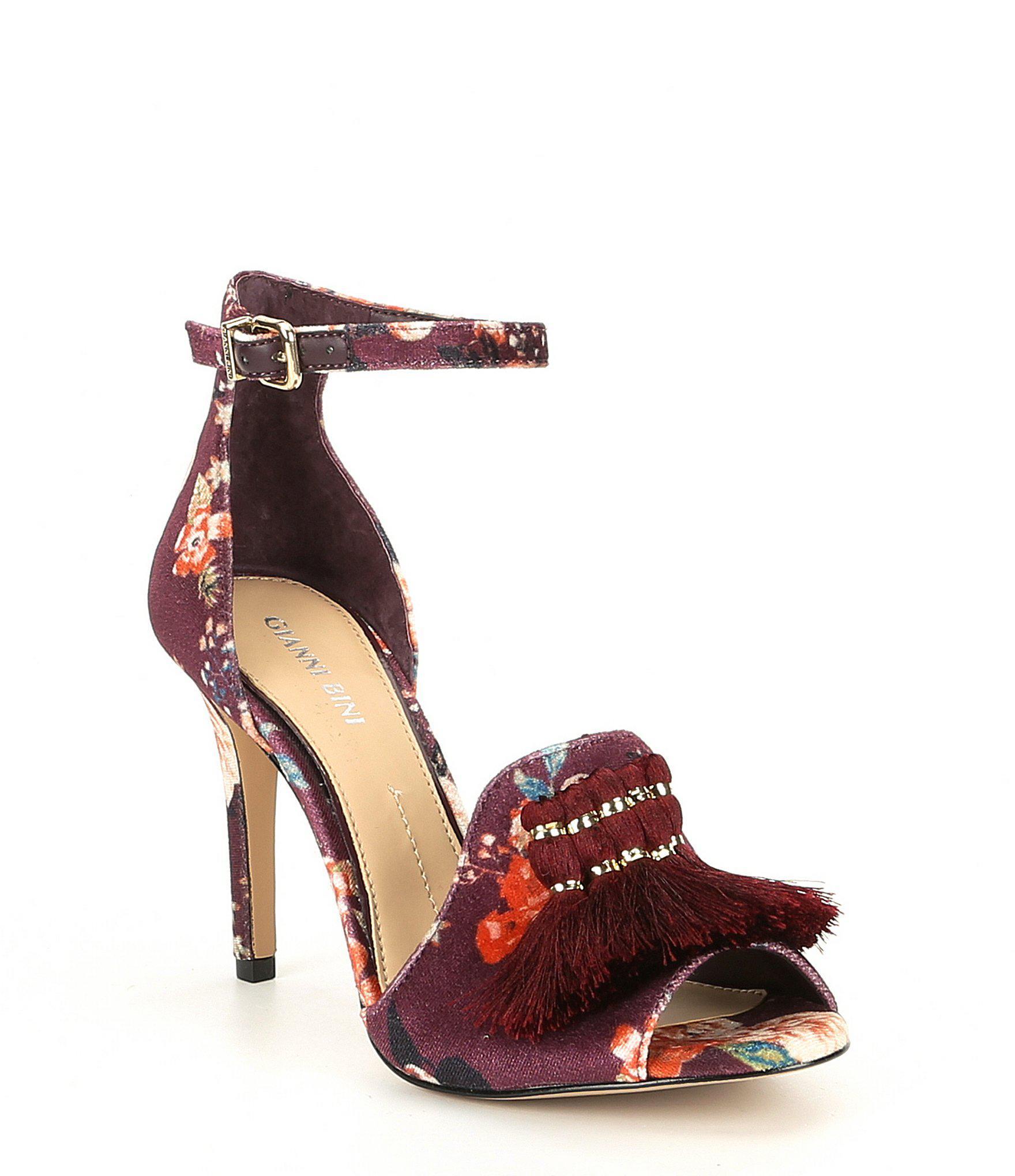 cdc176069b2 Gianni Bini - Multicolor Marrako Floral Print Velvet Tassel Detail Sandals  - Lyst. View fullscreen