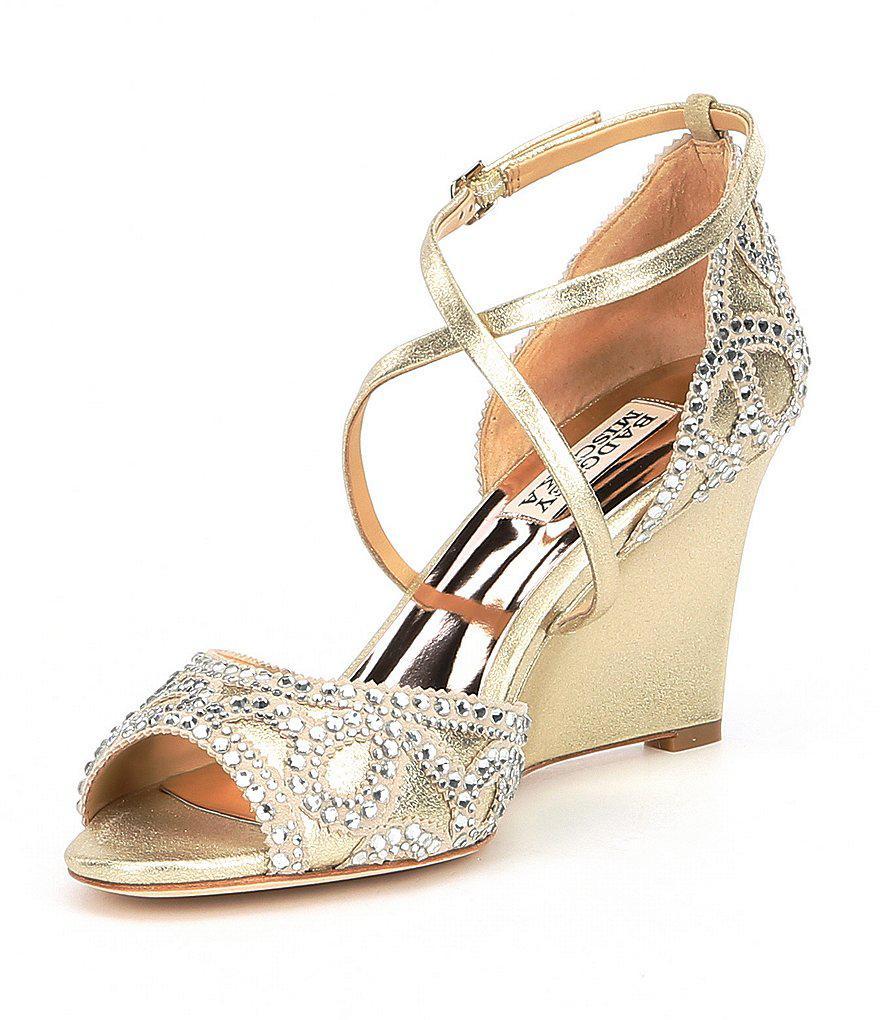 Badgley Mischka Winter Metallic Suede Cross Strap Buckle Rhinestone Wedge Dress Sandals zYj0MCK
