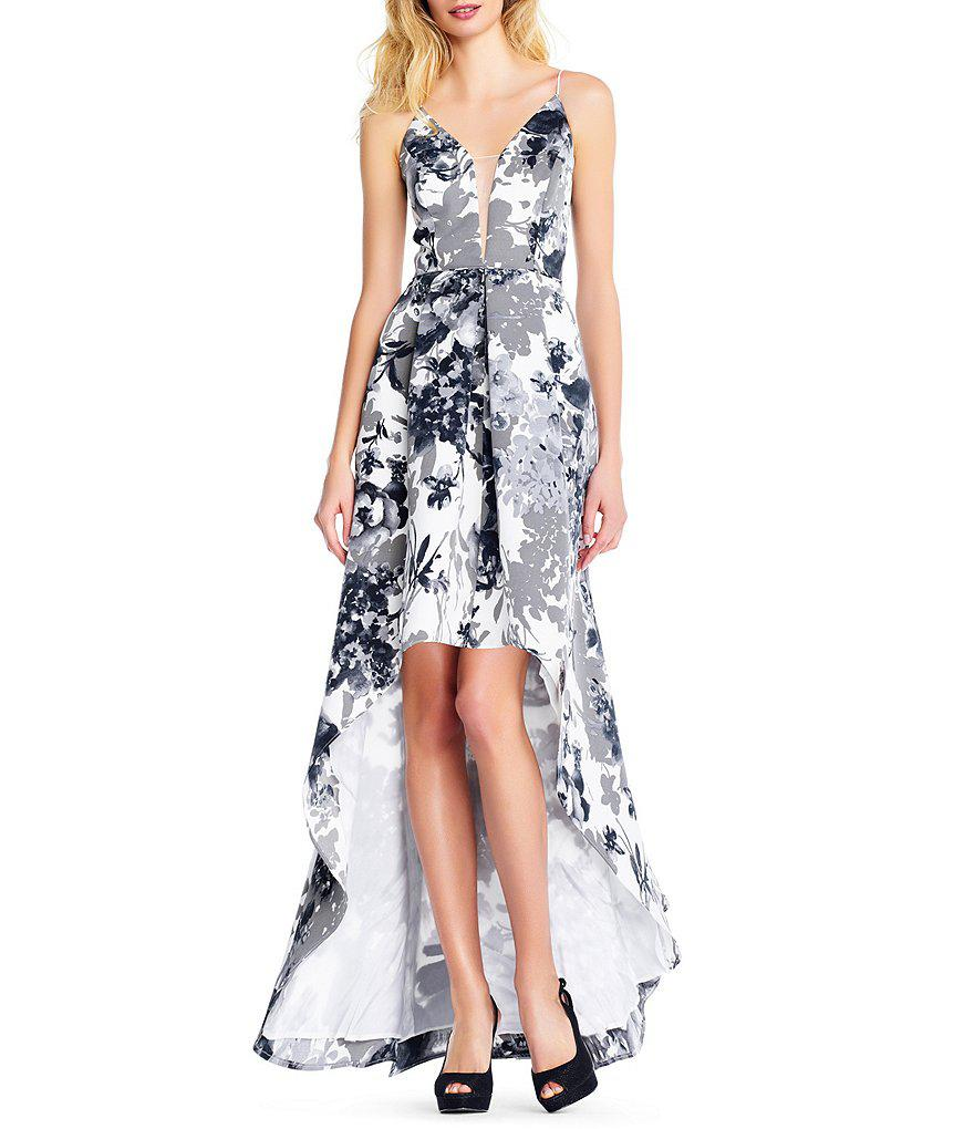 Lyst - Adrianna Papell Faille Long Floral Print Dress in Black