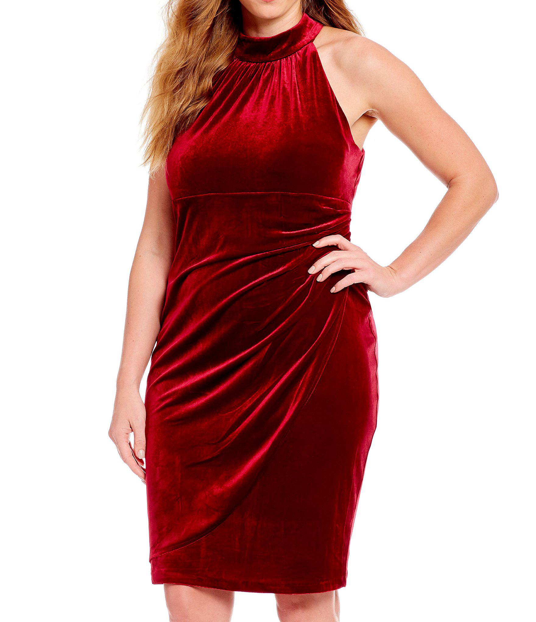 7bd9848e35d Vince Camuto Plus Size Velvet High Neck Draped Sheath Dress in Red ...